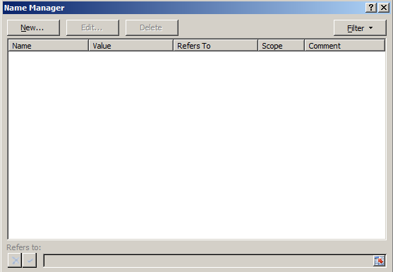 excel name manager GUI